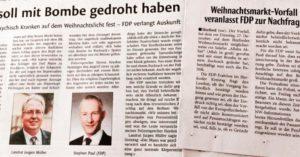 Die Herforder Tageszeitungen, Herforder Kreisblatt und Neue Westfälische, berichten über die FDP-Anfrage beim Landrat.